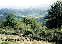 Climbing up to the Tunnel with Zegama in the distance. C. A. Roberts 1997