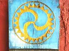 Old symbol on a shed door approaching Villaviciosa.